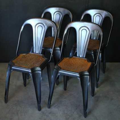 "Old industrial chairs ""FIBROCIT"" original wood seats Belgium"
