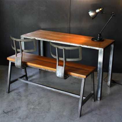 Ensemble table et banc (Bureau d'écolier)
